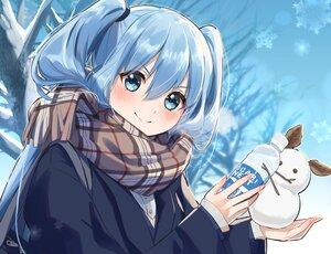 Rating: Safe Score: 38 Tags: aqua_eyes aqua_hair blush drink gotounoriji hatsune_miku long_hair petals scarf school_uniform snow snowman twintails vocaloid User: Maboroshi