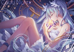 Rating: Safe Score: 82 Tags: aqua_hair dress hatsune_miku last_night_good_night_(vocaloid) long_hair minland4099 twintails vocaloid User: BattlequeenYume