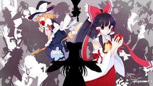Rating: Safe Score: 16 Tags: 2girls apple black_hair blonde_hair food fruit hakonekohime hakurei_reimu japanese_clothes kirisame_marisa long_hair miko short_hair touhou wink witch yellow_eyes User: korokun