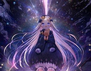 Rating: Safe Score: 64 Tags: abigail_williams_(fate/grand_order) aqua_eyes blonde_hair bloomers bow cropped dress fate/grand_order fate_(series) loli long_hair space stars teddy_bear waifu2x yano_mitsuki User: otaku_emmy