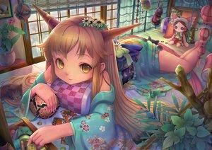 Rating: Safe Score: 67 Tags: animal ball bed cat doll hakurei_reimu ibuki_suika leaves sanntouhei touhou User: FormX