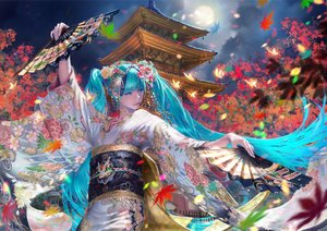 Rating: Safe Score: 46 Tags: aqua_eyes aqua_hair autumn building clouds fan flowers hatsune_miku japanese_clothes kimono leaves long_hair maeko_(pixiv17012595) moon night realistic sky twintails vocaloid User: BattlequeenYume