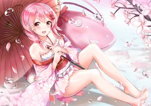 Rating: Safe Score: 150 Tags: anthropomorphism barefoot blush braids bubbles cherry_blossoms japanese_clothes lolita_fashion petals pink_hair red_eyes sergestid_shrimp_in_tungkang tailam umbrella xuan_ying User: FormX