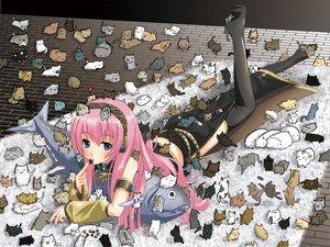 Rating: Safe Score: 110 Tags: animal cat fish megurine_luka nekonaka pink_hair vocaloid User: Koala-Chan
