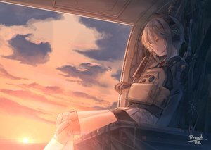 Rating: Safe Score: 26 Tags: clouds dreadtie gloves gray_hair headphones microphone original short_hair shorts signed skirt sky sleeping sunset User: RyuZU