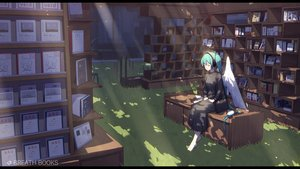 Rating: Safe Score: 32 Tags: book dress grass hatsune_miku headphones vocaloid wings zhayin-san User: FormX