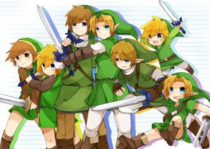 Rating: Safe Score: 14 Tags: all_male aqua_eyes blonde_hair boots brown_eyes brown_hair hat link_(zelda) male pointed_ears sword the_legend_of_zelda weapon yuu_p917 User: otaku_emmy