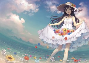 Rating: Safe Score: 54 Tags: 104 black_hair clouds dress flowers green_eyes hat long_hair original skirt_lift sky summer_dress sunflower water User: BattlequeenYume