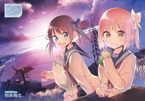 Rating: Safe Score: 97 Tags: aihara_shouta animal blue_eyes brown_eyes brown_hair building cat city clouds dengeki_moeoh drink grass jpeg_artifacts original pantyhose scenic school_uniform short_hair signed sky stars translation_request water User: Wiresetc