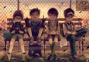 Rating: Safe Score: 53 Tags: all_male brown_eyes brown_hair elbow_gloves game_console glasses gloves group hat kneehighs male noeyebrow_(mauve) original seifuku short_hair watermark User: BattlequeenYume