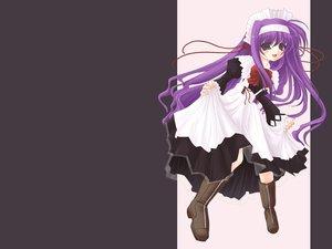 Rating: Safe Score: 15 Tags: apron blue_eyes blush boots bow headband headdress long_hair mahou_shoujo_lyrical_nanoha maid purple_hair ribbons tsukimura_suzuka User: Oyashiro-sama