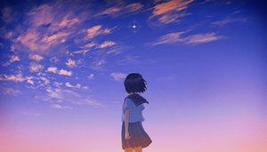 Rating: Safe Score: 79 Tags: black_hair clouds original rito_0x0 scenic school_uniform short_hair skirt sky stars sunset User: Dreista