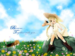 Rating: Safe Score: 7 Tags: animal black_eyes blonde_hair dress flowers hat summer summer_dress User: Oyashiro-sama