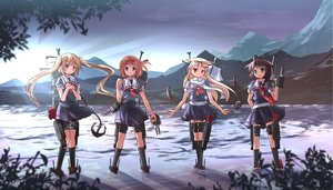 Rating: Safe Score: 129 Tags: anthropomorphism blonde_hair blue_eyes brown_hair group headband kantai_collection kneehighs long_hair murasame_(kancolle) red_eyes risutaru scarf shigure_(kancolle) shiratsuyu_(kancolle) short_hair skirt socks twintails uniform water weapon yuudachi_(kancolle) User: STORM