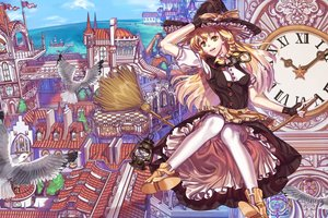 Rating: Safe Score: 74 Tags: animal bird blonde_hair braids building city goggles hat kirisame_marisa long_hair lotty ribbons thighhighs touhou witch yellow_eyes User: RyuZU