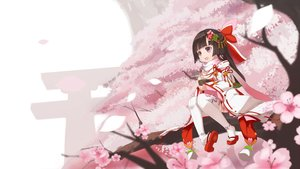 Rating: Safe Score: 63 Tags: aliasing bell black_hair bow cang_yue_xue_feng cherry_blossoms flowers loli long_hair petals purple_eyes scarf thighhighs torii tree User: RyuZU