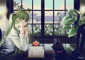 Rating: Safe Score: 96 Tags: animal bell book building cat drink flowers glasses green_eyes green_hair hatsune_miku long_hair poppuru signed skirt twintails vocaloid User: BattlequeenYume