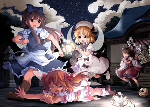 Rating: Safe Score: 74 Tags: apron bell blonde_hair boots bow brown_eyes brown_hair clouds crying dress fairy group hakurei_reimu hat headdress japanese_clothes loli long_hair luna_child miko moon night orange_hair ruu_(tksymkw) short_hair shrine sky socks stars star_sapphire sunny_milk tears touhou tree twintails wings yellow_eyes User: otaku_emmy