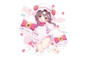 Rating: Safe Score: 37 Tags: animal_ears bell blush bow brown_eyes brown_hair bunny bunny_ears candy dress fang food fruit hat koma_momozu loli lollipop short_hair strawberry white User: otaku_emmy