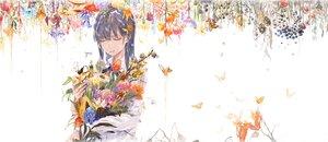 Rating: Safe Score: 16 Tags: black_hair bouno_satoshi bow butterfly flowers food fruit long_hair original ribbons shirt water white User: otaku_emmy