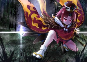 Rating: Safe Score: 33 Tags: benienma crost fate/grand_order fate_(series) feathers forest grass hat japanese_clothes katana kimono loli red_eyes red_hair short_hair socks sword tree weapon User: otaku_emmy