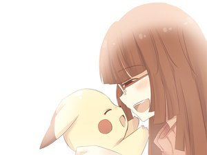 Rating: Safe Score: 84 Tags: blush brown_hair glasses long_hair pikachu pokemon User: TomomiSuzune