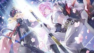 Rating: Safe Score: 30 Tags: 2girls blonde_hair breasts cape cherry_blossoms cleavage flowers gloves hat long_hair mullpull petals pink_eyes pink_hair sarashi short_hair spear sword underwear uniform weapon User: otaku_emmy