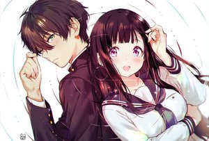 Rating: Safe Score: 81 Tags: black_hair blush breast_hold breasts chitanda_eru green_eyes hyouka long_hair male mery_(apfl0515) oreki_houtarou purple_eyes school_uniform short_hair signed User: RyuZU