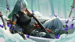Rating: Safe Score: 75 Tags: alov animal arknights bath bathtub butterfly fish green_eyes green_hair horns hoshiguma_(arknights) katana long_hair sword water weapon User: BattlequeenYume