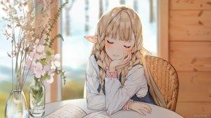 Rating: Safe Score: 88 Tags: blonde_hair book braids flowers long_hair original pointed_ears shirt sunako_(veera) watermark User: BattlequeenYume