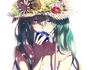 Rating: Safe Score: 162 Tags: apple aqua_hair bicolored_eyes df=6 flowers fruit green-eyes hat hatsune_miku leaves long_hair pink_eyes summer_dress vocaloid User: Flandre93