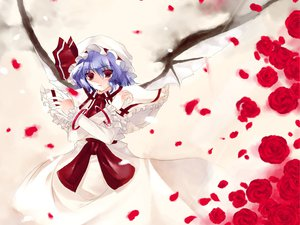 Rating: Safe Score: 26 Tags: flowers red remilia_scarlet rose touhou vampire white wings User: Oyashiro-sama