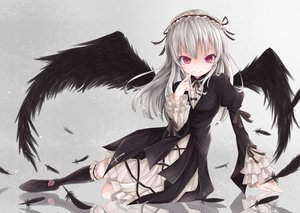 Rating: Safe Score: 201 Tags: doll feathers gothic headdress kneehighs lolita_fashion long_hair red_eyes rin_yuu rozen_maiden suigintou white_hair wings User: Flandre93