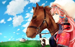 Rating: Safe Score: 51 Tags: animal blue_eyes clouds funkid hat horse long_hair megurine_luka pink_hair vocaloid User: FormX