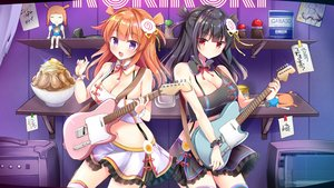 Rating: Safe Score: 73 Tags: aliasing black_hair breasts cleavage collar food guitar hosaki_menma hosaki_menma_channel instrument masayo_(gin_no_ame) orange_hair purple_eyes red_eyes skirt translation_request User: sadodere-chan