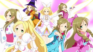 Rating: Safe Score: 10 Tags: blonde_hair bow braids brown_hair cake cure_rhythm elbow_gloves food gloves green_eyes hat jabara_tornado japanese_clothes long_hair minamino_kanade ponytail precure school_uniform skirt smile_precure! witch_hat User: RyuZU