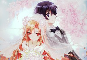 Rating: Safe Score: 111 Tags: brown_eyes brown_hair elbow_gloves gloves kirigaya_kazuto long_hair red_eyes sword_art_online wedding_attire yuuki_asuna User: netscout