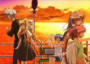 Rating: Safe Score: 6 Tags: air kamio_misuzu key kirishima_kano kunisaki_yukito michiru potato ribbons sky sunset tohno_minagi User: Kel