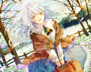 Rating: Safe Score: 58 Tags: flowers long_hair original petals skirt sky tagme_(artist) tree white_hair winter yellow_eyes User: BattlequeenYume