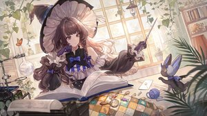 Rating: Safe Score: 86 Tags: book bow braids brown_hair butterfly doll gloves hat leaves long_hair magic original paper purple_eyes senryoko wand witch witch_hat User: BattlequeenYume