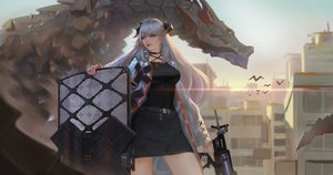 Rating: Safe Score: 42 Tags: arknights building choker city dragon gray_hair gun horns jangsunyo long_hair orange_eyes saria_(arknights) skirt sky waifu2x weapon User: otaku_emmy