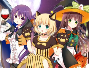 Rating: Safe Score: 41 Tags: aliasing animal_ears bell blonde_hair braids brown_hair collar cosplay drink gloves gochuumon_wa_usagi_desu_ka? green_eyes halloween hat kirima_sharo long_hair purple_eyes purple_hair ryoutan short_hair tedeza_rize thighhighs ujimatsu_chiya witch_hat User: otaku_emmy