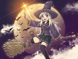 Rating: Safe Score: 25 Tags: aki_(akisora_hiyori) animal bat bird blonde_hair hat long_hair original skirt thighhighs witch witch_hat zettai_ryouiki User: RyuZU