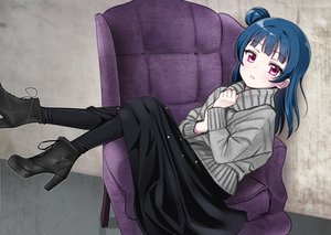 Rating: Safe Score: 59 Tags: blue_hair boots deadnooodles long_hair love_live!_school_idol_project love_live!_sunshine!! pink_eyes skirt stockings tsushima_yoshiko User: otaku_emmy
