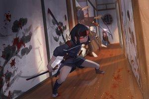 Rating: Safe Score: 62 Tags: blood headband katana male original red_eyes sako short_hair shorts sword weapon User: luckyluna