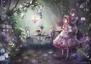 Rating: Safe Score: 36 Tags: 2girls animal_ears anthropomorphism big_bad_wolf brown_hair bunny cake dress drink flowers food forest fruit hane_segawa hoodie little_red_riding_hood lolita_fashion long_hair maid original red_riding_hood short_hair strawberry tree watermark wolfgirl User: BattlequeenYume