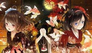 Rating: Safe Score: 92 Tags: 2girls animal autumn black_hair blue_eyes brown_hair fish headband japanese_clothes kimono moon original red_eyes reio_(reio_reio) User: FormX