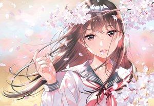 Rating: Safe Score: 95 Tags: brown_eyes brown_hair cherry_blossoms close cropped flowers long_hair morikura_en original scan school_uniform User: BattlequeenYume