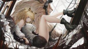 Rating: Safe Score: 58 Tags: animal animal_ears arknights boots brown_eyes brown_hair catgirl lion long_hair marumoru open_shirt siege_(arknights) skirt weapon User: BattlequeenYume