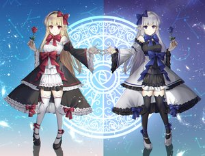 Rating: Safe Score: 47 Tags: 2girls blonde_hair blue_eyes dress dungeon_and_fighter flowers gray_hair poho pointed_ears red_eyes rose thighhighs twins zettai_ryouiki User: Arsy